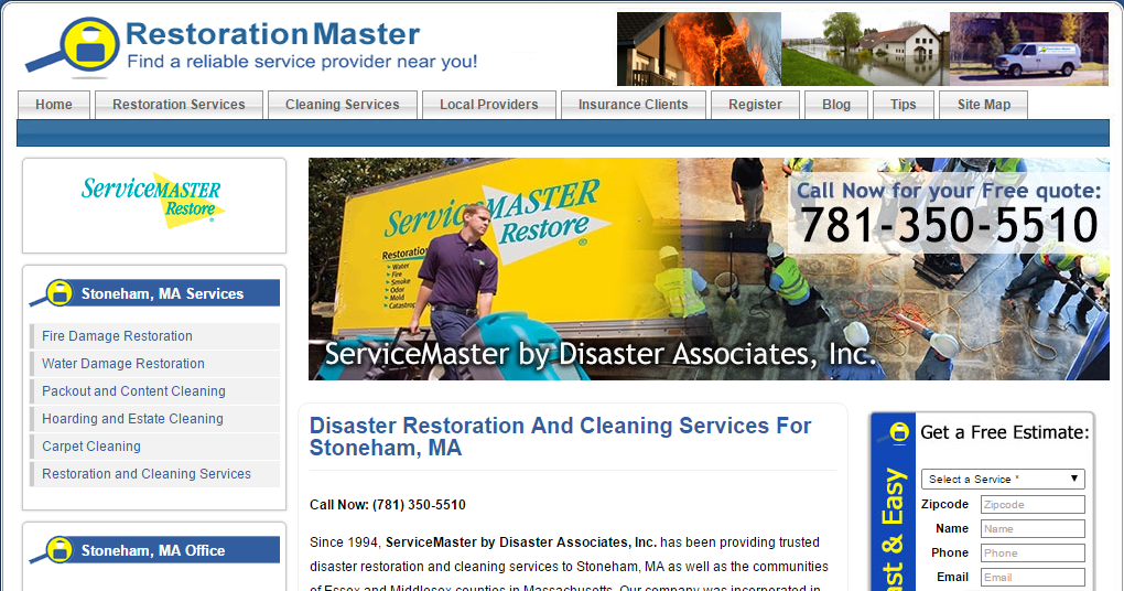 ServiceMaster by Disaster Associates, Inc. in Stoneham, MA Joins RestorationMasterFinder.com