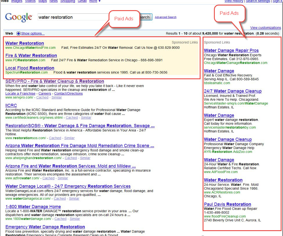 Google SERP ads before Feb 2016