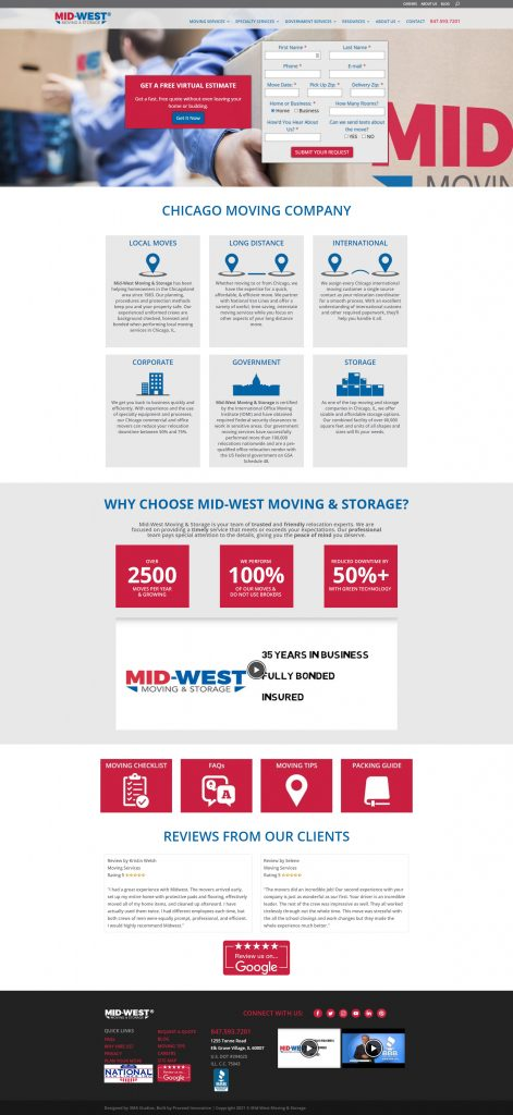mid-west moving and storage website front page