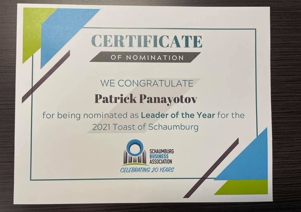 Patrick Panayotov Nominated as Leader of the Year for the 2021 Toast of Schaumburg